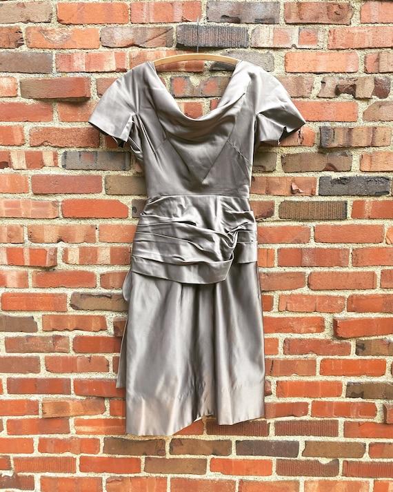 Xs • 1950s PURE SILK mocha satin charmeuse dress … - image 3