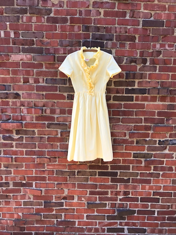 Xxs/xs •• 1940s YELLOW GINGHAM cotton dress •• vin
