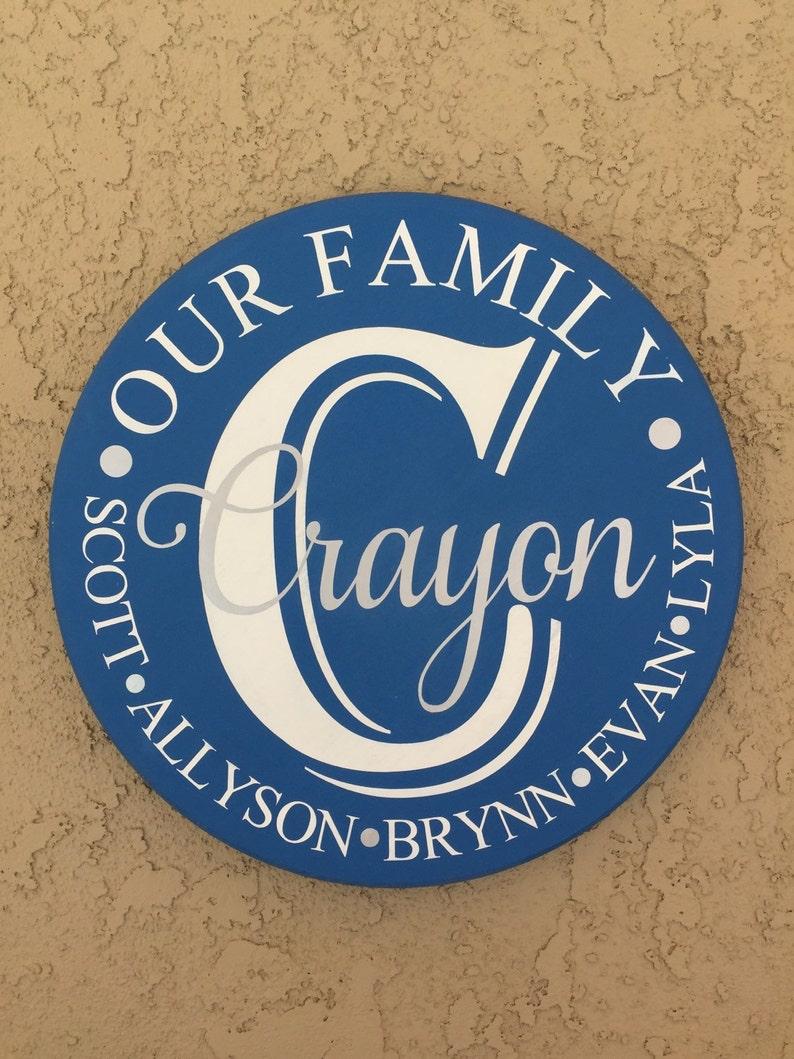 18 Round family name plaque