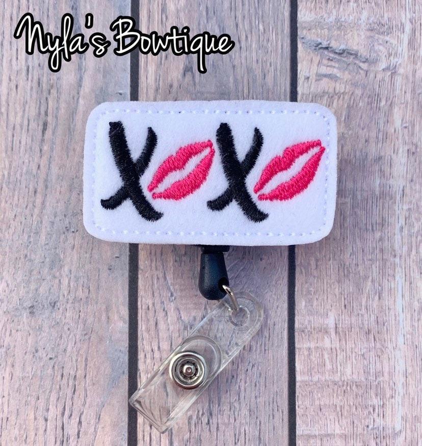Badge Reel Accessories Cute Badge Reels XOXO Reel Retractable Acrylic Badge Reel gift for Nurse Valentine\u2019s Day