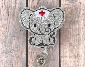 Elephant Nurse Badge Reel, Elephant Badge Reel, RN Badge Reel, Badge Reel for Nurse, Retractable Badge Reel