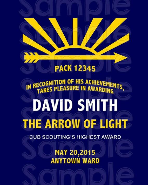 Arrow Of Light Award 110 Personalized Printable Digital Etsy