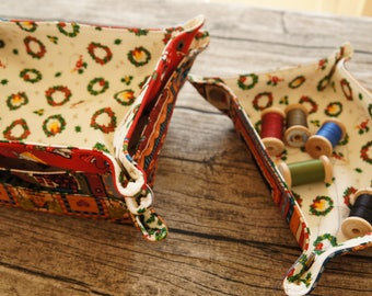 Christmas pattern mix of two fabric holders--soft texture--home decor