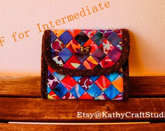 Sewing pattern for intermediate level--Fabric billfold wallet--PDF Instant download