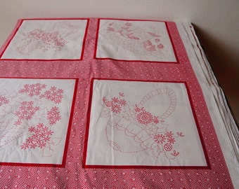 Redwork theme cotton quilting fabric-Lazy daisy baskets pannel by RobertKaufman