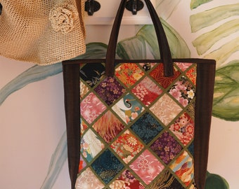 Handmade portable patchwork art series/ Tote fabric bag/japanese gold texture
