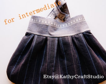 Sewing pattern for intermediate level--Pleated shoulder bag--PDF Instant download