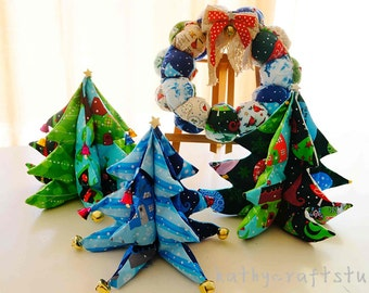 Fabric wreath puff style/Christmas tree/textile home decoration