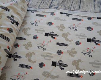 Half yard (45cm*150cm)-- Sewing cotton linen fabric--cute cactus pattern