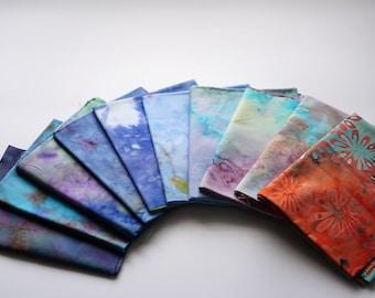 Bali Assortment of mix color theme Fat quarter Bundle - 10 Different Pieces - Hand Dyed Bali Batik Cotton Quilt Fabric