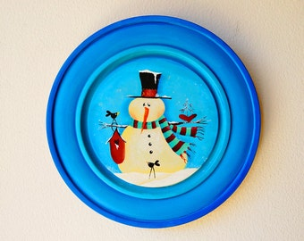 Hand painted/acrylic painting/home decor/ folk art snowman