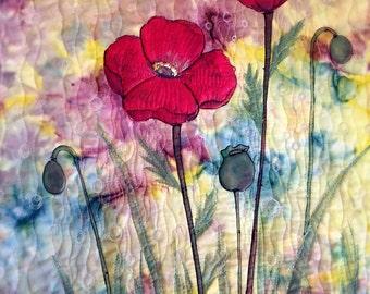 Handmade fiber art/handpainted quilting/fabric paint/wall decor--poppies