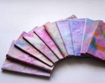 Bali Assortment of purple theme FatQuarter Bundle - 10 Different Pieces - Hand Dyed Bali Batik Cotton Quilt Fabric