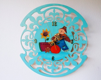 Hand painted/acrylic painting/home decor/ folk art wooden clock