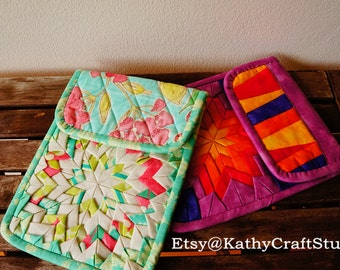 Handmade padded ipad mini case, kindle case, tablet case