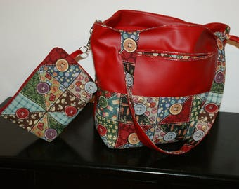 Large tote bag in faux leather fabric and Red cotton thick buttons.