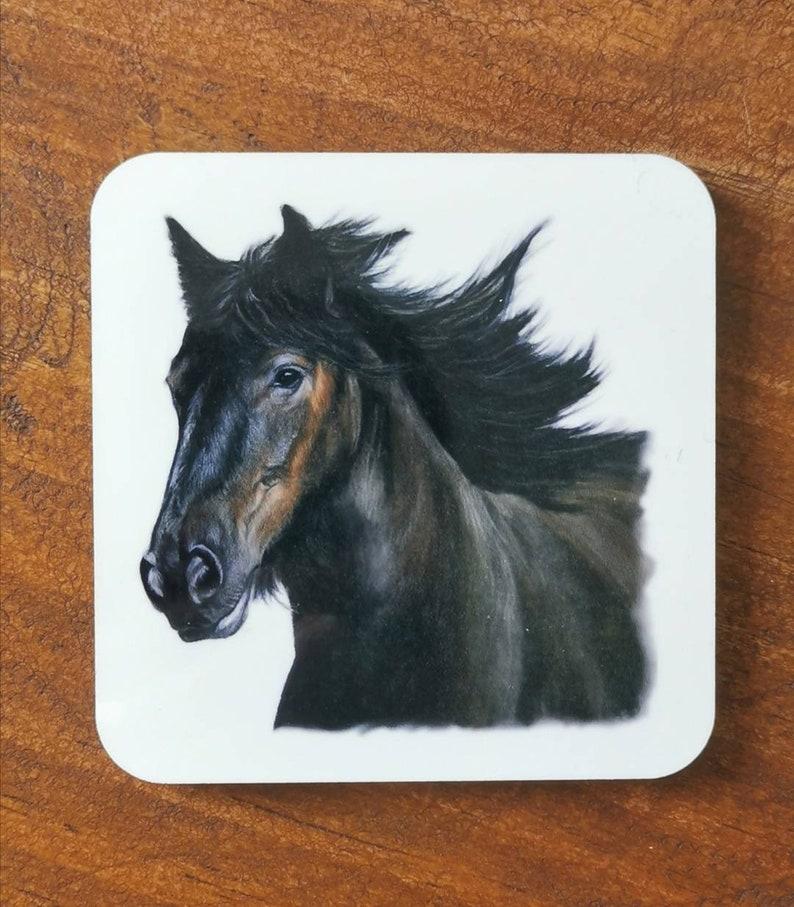 Art cork drinks coaster horse   single