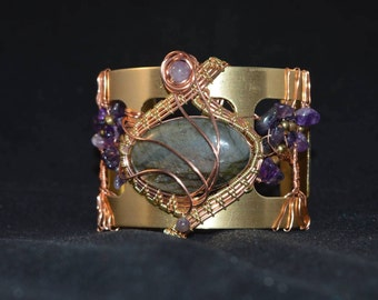 Bracelet double tree of life copper brass labradorite and Amethyst