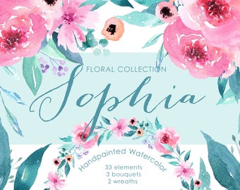Sophia Floral Watercolor clipart, peonies flower, wedding invitations, wedding clipart, beautiful, washy watercolour, pink florals, DIY