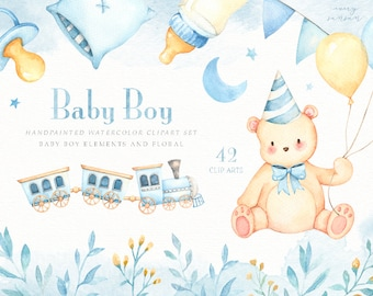 Baby Boy Watercolor Clip Arts, Bear Clipart, Toy Train, Moon, Woodland Animals, Kids Clipart, Nursery Decor, Boy Room, Kids Art, Nursery Art