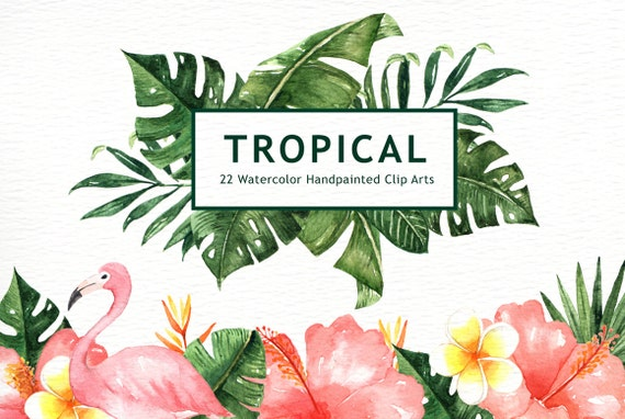 tropical leaves watercolor clipart watercolor flower etsy