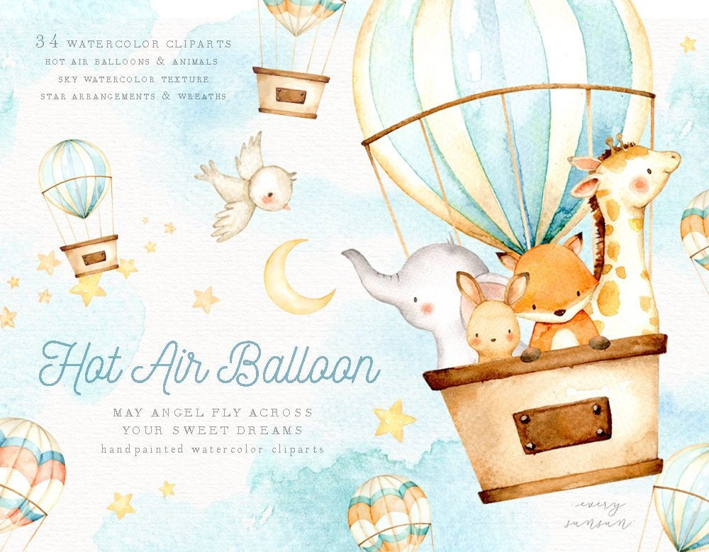 Hot Air Balloon Watercolor Clipart Elephant Clipart Moon ...