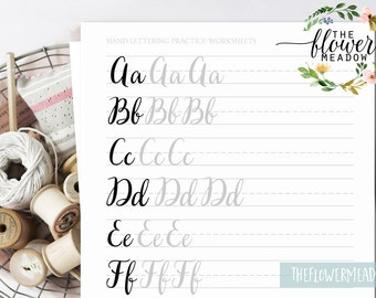 Hand lettering guide, Brush lettering, worksheets lettering practice, wedding calligraphy tutorial learn calligraphy brush alphabet 02