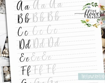 Brush lettering worksheets, lettering practice, wedding calligraphy, tutorial learn calligraphy, hand lettering guide, brush alphabet 04