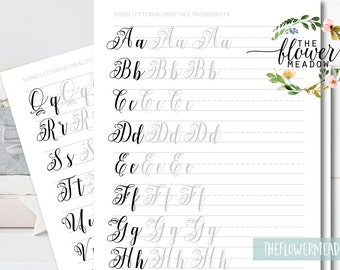 Learn calligraphy brush alphabet, Hand lettering guide, Brush lettering, worksheets lettering practice, wedding calligraphy tutorial 25