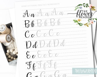 Learn calligraphy, hand lettering guide, Brush lettering worksheets lettering practice, wedding calligraphy tutorial brush alphabet 05