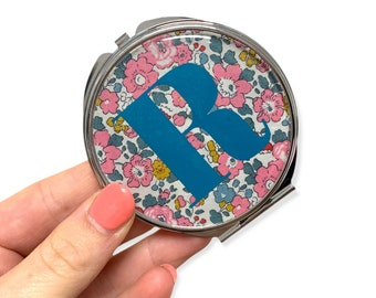 Personalised Liberty of London Compact Mirror. Silver pocket mirror, available in a range of Liberty fabrics