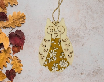 Liberty of London Hanging Owl Decoration. A wooden decoration, made from a Liberty fabric of your choice.