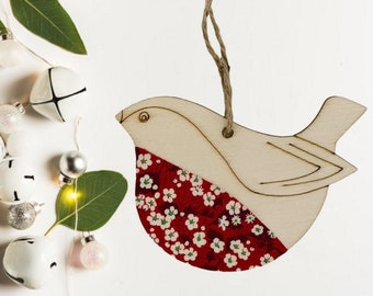 Liberty of London Hanging Robin Decoration. A wooden decoration, made from a Liberty fabric of your choice.