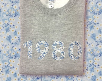 Year of Birth Sweater Jumper with Year in a  Liberty of London Fabric of your choice