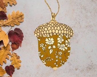 Liberty of London Hanging Acorn Decoration. A wooden decoration, made from a Liberty fabric of your choice.