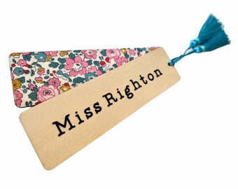 Personalised Thank you Teacher Gift. Liberty of London Wooden Bookmark with Tassel