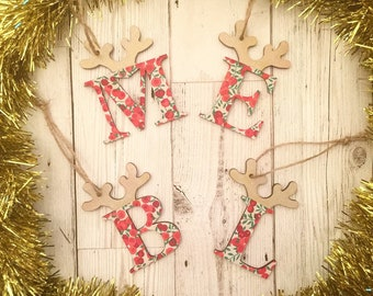 Personalised Liberty Christmas Reindeer Decoration