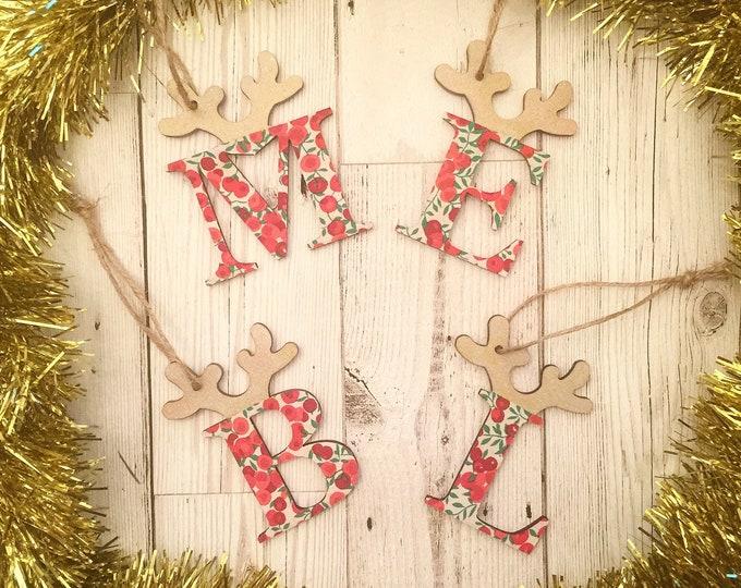 Personalised Liberty Christmas Reindeer Decoration