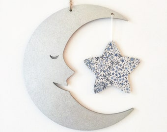 Moon and Star Wall Hanging with Star in Liberty of London Adelajda