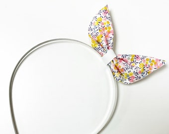 Liberty of London Bunny Bow Head Band. Handmade, and Available in Various Fabrics.