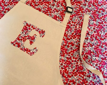 Personalised Liberty of London Initial Apron for Children, available in a range of fabrics