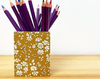 Liberty of London Wooden Pencil and Pen Holder Pot. Make Up Brush Holder. Desk Tidy