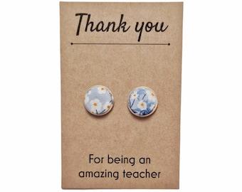 Thank you Teacher Gift. Liberty of London Stud Earrings, Handmade using Liberty Tana Lawn Fabric.