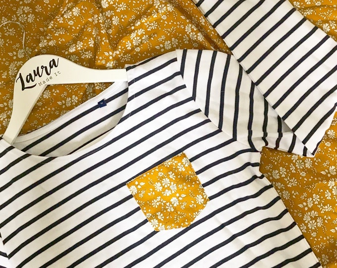 Breton Striped Long Sleeve Tshirt with Liberty of London Pocket in a Fabric of Your Choice