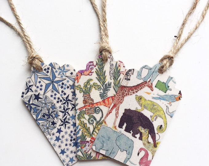 Liberty of London Wooden Gift Tags. Set of 3, in a selection of Animal and Star Prints. Including Rumble & Roar and Queue for the Zoo