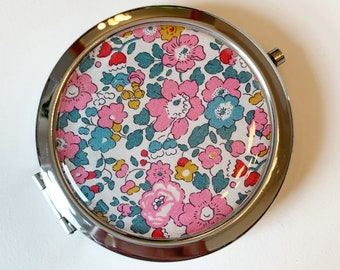 Liberty of London Compact Mirror. Silver pocket mirror, available in a range of Liberty fabrics