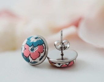 TENNER TUESDAY Liberty of London Stud Earrings. Handmade using Liberty Tana Lawn Fabric. Available in various fabrics