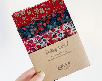 Festive Liberty of London Beeswax Wraps. S/M/L Trio Pack
