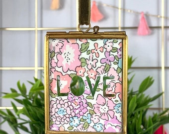 Small Liberty Print Love Framed Cut Out, available in a range of fabrics