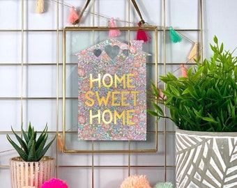 Liberty Print Home Sweet Home House in Gold Frame, available in a range of fabrics